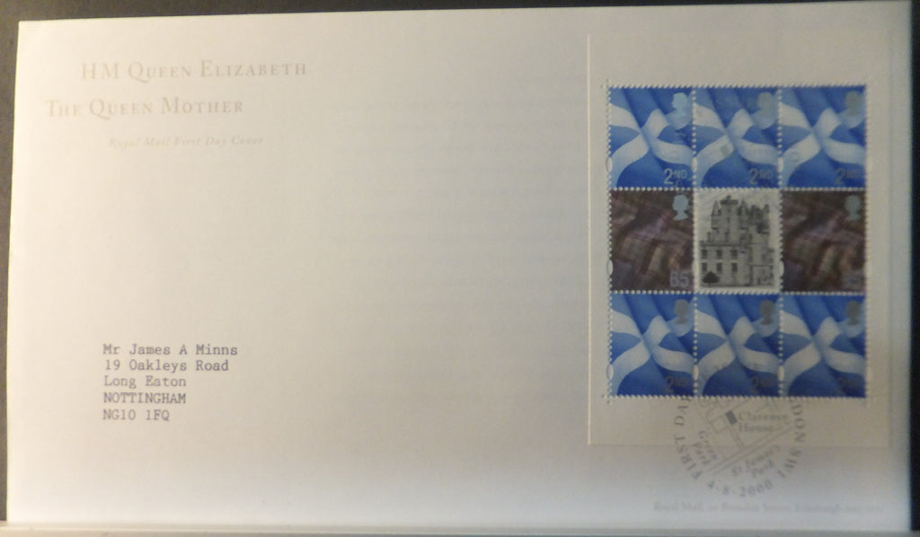Great Britain Booklet Pane Royal Mail 2000 FDC - Queen Mother London SW1 postmark