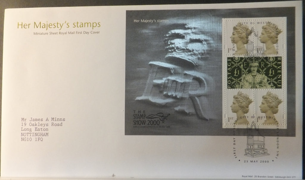 Great Britain Royal Mail 2000 Miniature Sheet FDC - Her Majesty's Stamps London SW1 Westminster postmark