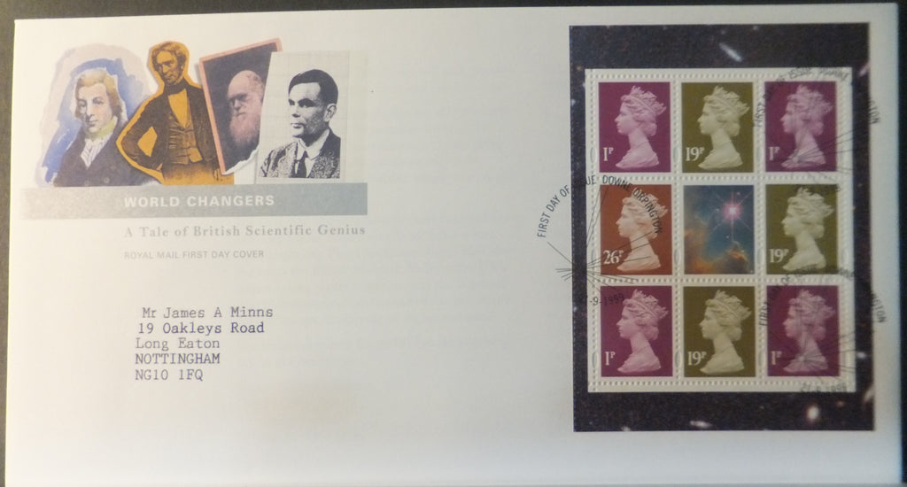 Great Britain Booklet Pane Royal Mail 1999 FDC - World Changers Downe Orpington postmark