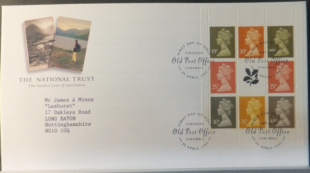 Great Britain Booklet Pane Royal Mail 1995 FDC -The National Trust Tintagel postmark