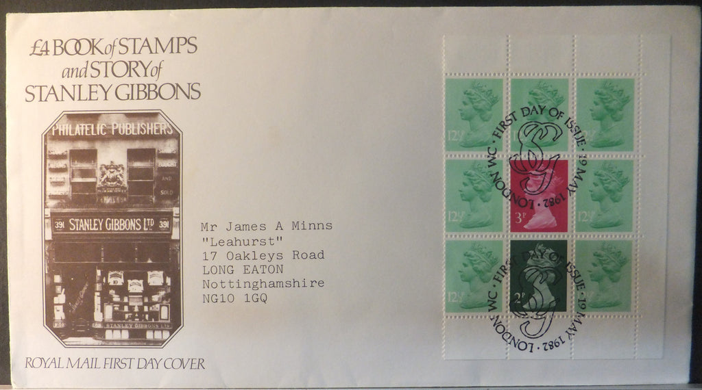 Great Britain Booklet Pane Royal Mail 1982 Stanley Gibbons London WC postmark