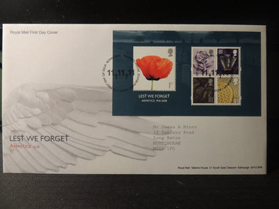 Great Britain Royal Mail 2008 FDC - Miniature Sheet Lest we Forget Tallents postmark