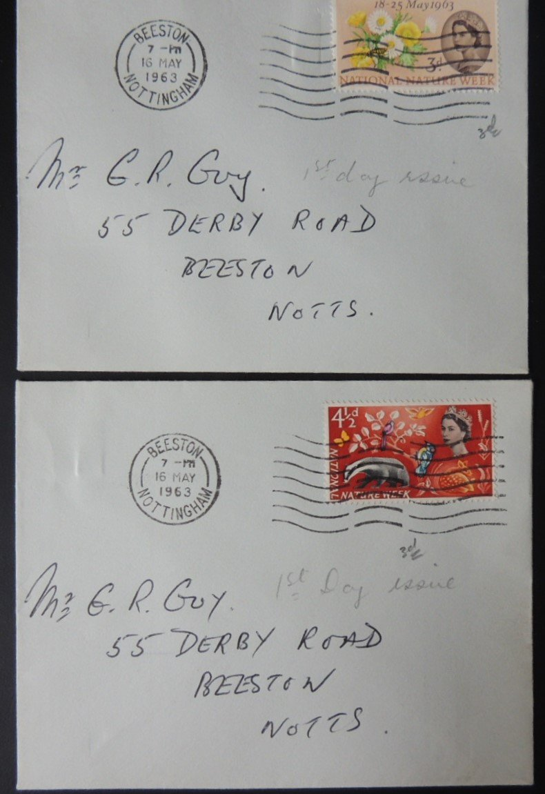 Great Britain 1962 QEII FDC Nature Week set of 2 on 2 plain envelopes