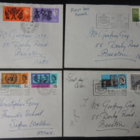 Great Britain 1965/66 QEII FDC 4 plain envelopes Arts Festival Post Office Tower UNO Westminster Abbey