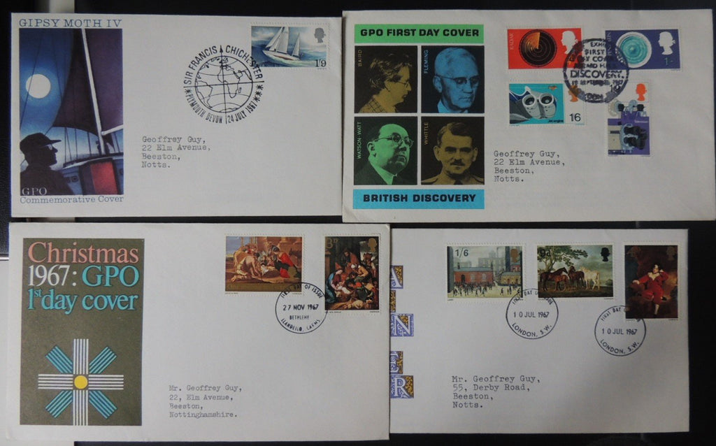 Great Britain 1967 QEII FDC 4 official illustrated covers Chichester discoveries paintings Christmas