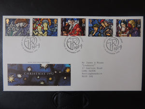Great Britain 1992 FDC - Christmas stained glass windows Pangbourne postmark
