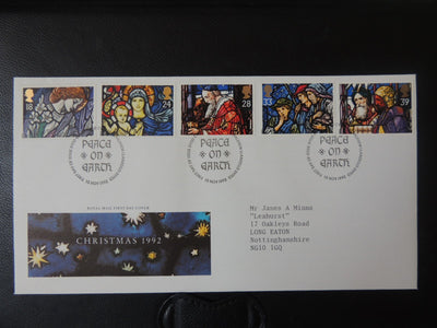 Great Britain 1992 FDC - Christmas stained glass windows Bethlehem postmark