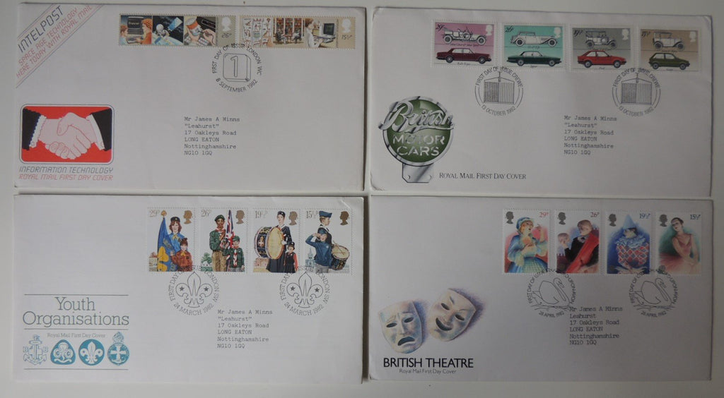Great Britain 1982 x4 FDC - Youth Organisations, Britsh Theatre and Cars, Information technology
