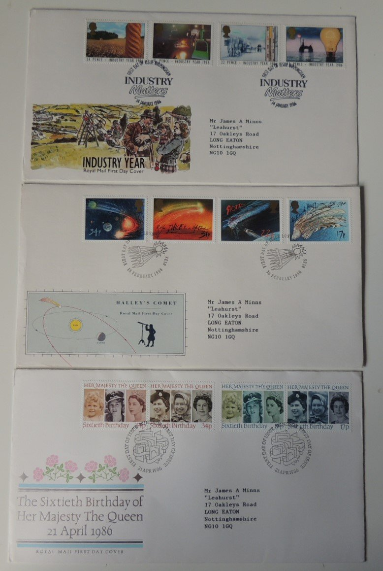 Great Britain 1986 x3 FDC - Industry Year, Halley's Comet, Queen's 60th birthday