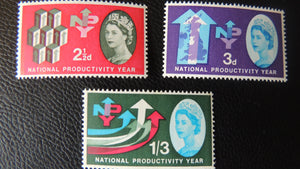 Great Britain QEII 1962 National Productivity Year MNH Set of 3 (Phosphor) SG 631p-33p