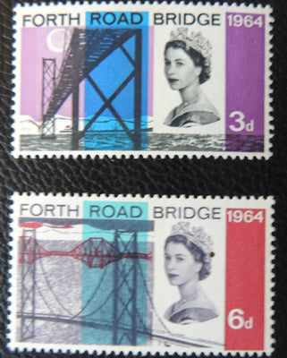 Great Britain QEII 1964 Forth Road Bridge MNH Set of 2 (Phosphor) SG 659p-660p