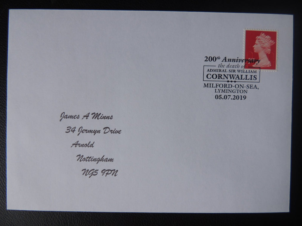 Gb Postmark 200Th Anniversary Admiral Sir John Cornwallis Milford-On-Sea