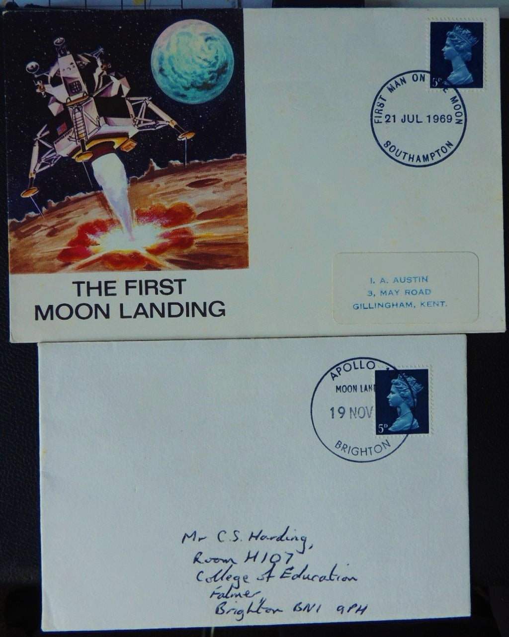 Great Britain 1969 QEII FDC 2 covers Apollo 11 and 12 moon landings good used