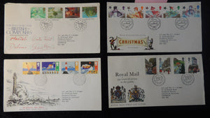Great Britain 1985 QEII FDC 4 official illustrated covers composers, safety at sea, royal mail, christmas good used