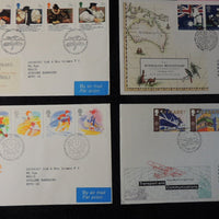 Great Britain 1988 QEII FDC 4 official illustrated covers welsh bible, sport, transport, australian bicentenary good used