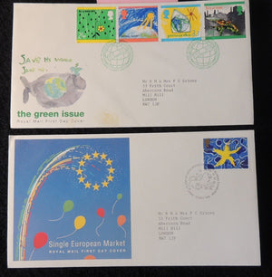 Great Britain 1992 QEII FDC 2 official illustrated covers single european market, green issue good used