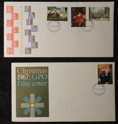 Great Britain 1967 x2 FDC - paintings and Christmas