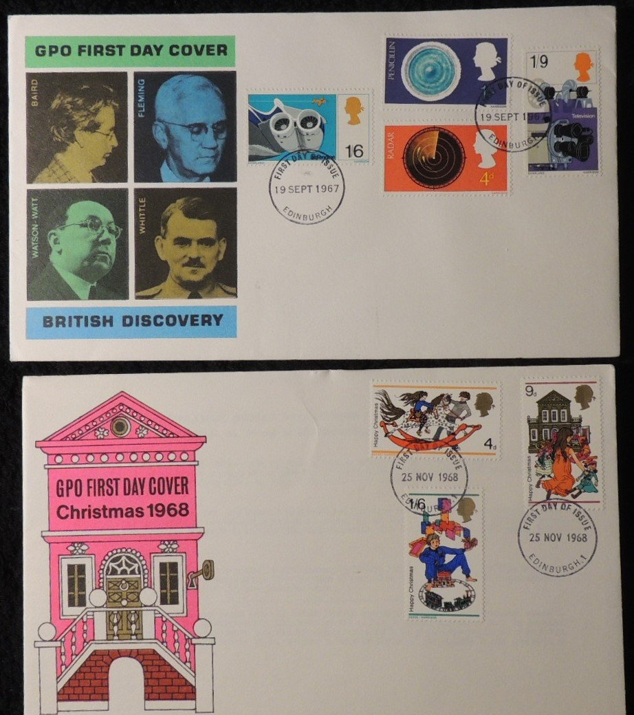 Great Britain 1967/8 x2 FDC - british discovery christmas