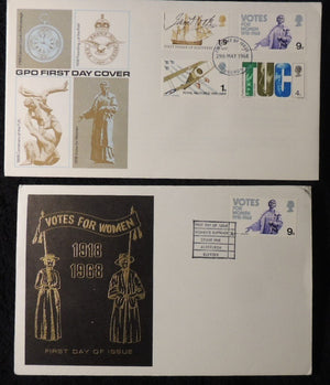Great Britain 1968 x2 FDC - british anniversaries votes for women