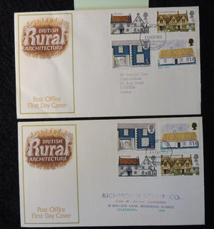 Great Britain 1970 - x2 FDC rural architecture bureau and surrey postmarks