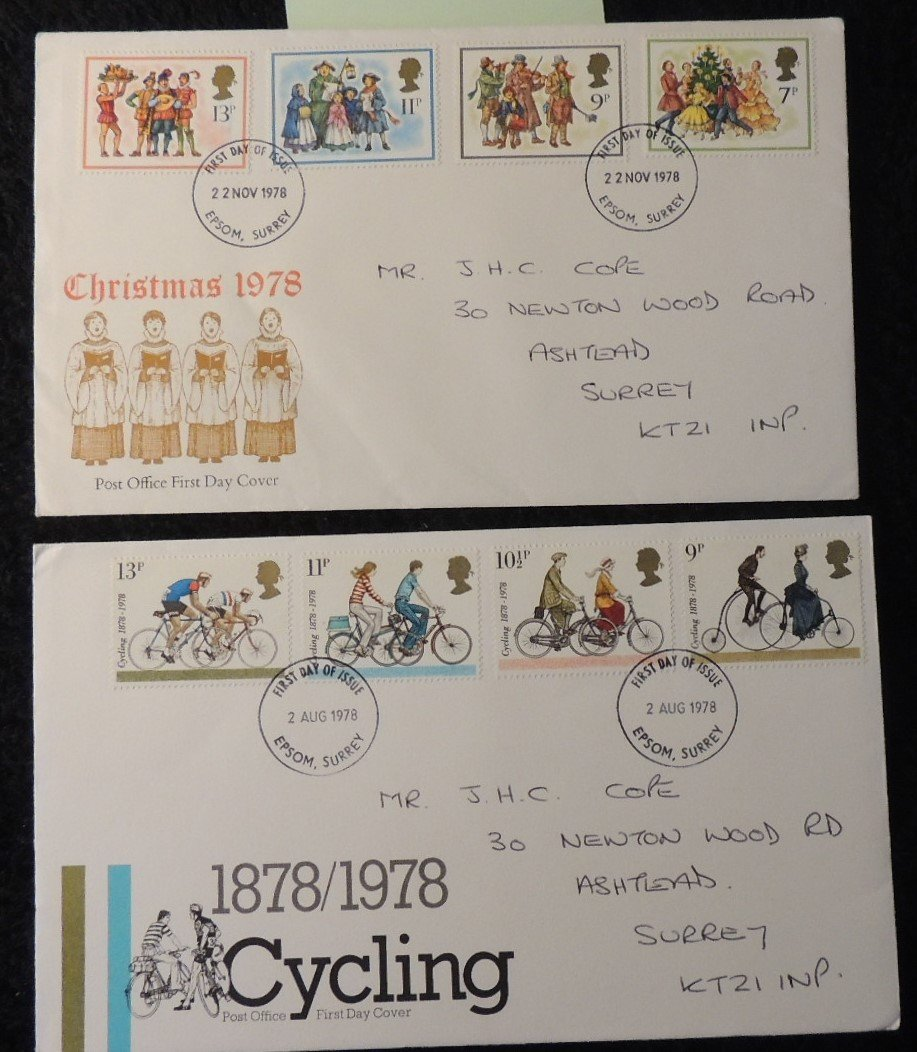 Great Britain 1978 - x2 FDC cycling christmas both epsom postmark