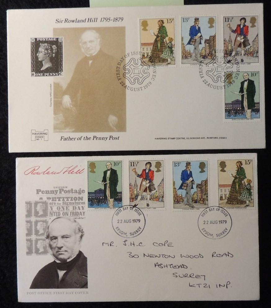 Great Britain 1979 - x2 FDC rowland hill 2 different envelopes and postmarks