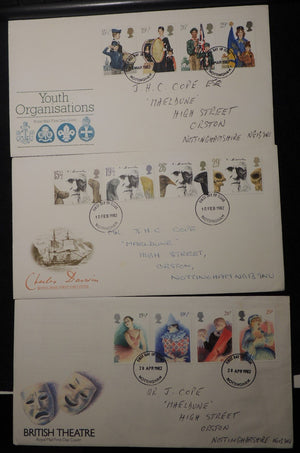 Great Britain 1982 - x3 FDC youth organisations darwin theatre