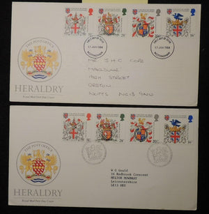 Great Britain 1984 - x2 FDC heraldry 2 different postmarks bureau nottingham