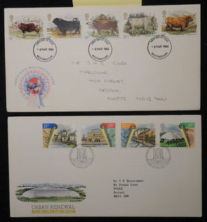 Great Britain 1984 - x2 FDC cattle urban renewal