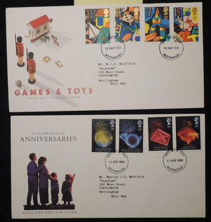 Great Britain 1989 - x2 FDC anniversaries toys nottingham postmark