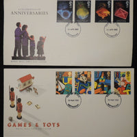 Great Britain 1989 - x2 FDC anniversaries toys nottingham postmark unaddressed
