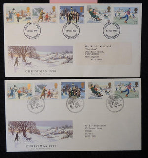 Great Britain 1990 - x2 FDC christmas nottingham and bethlehem postmarks