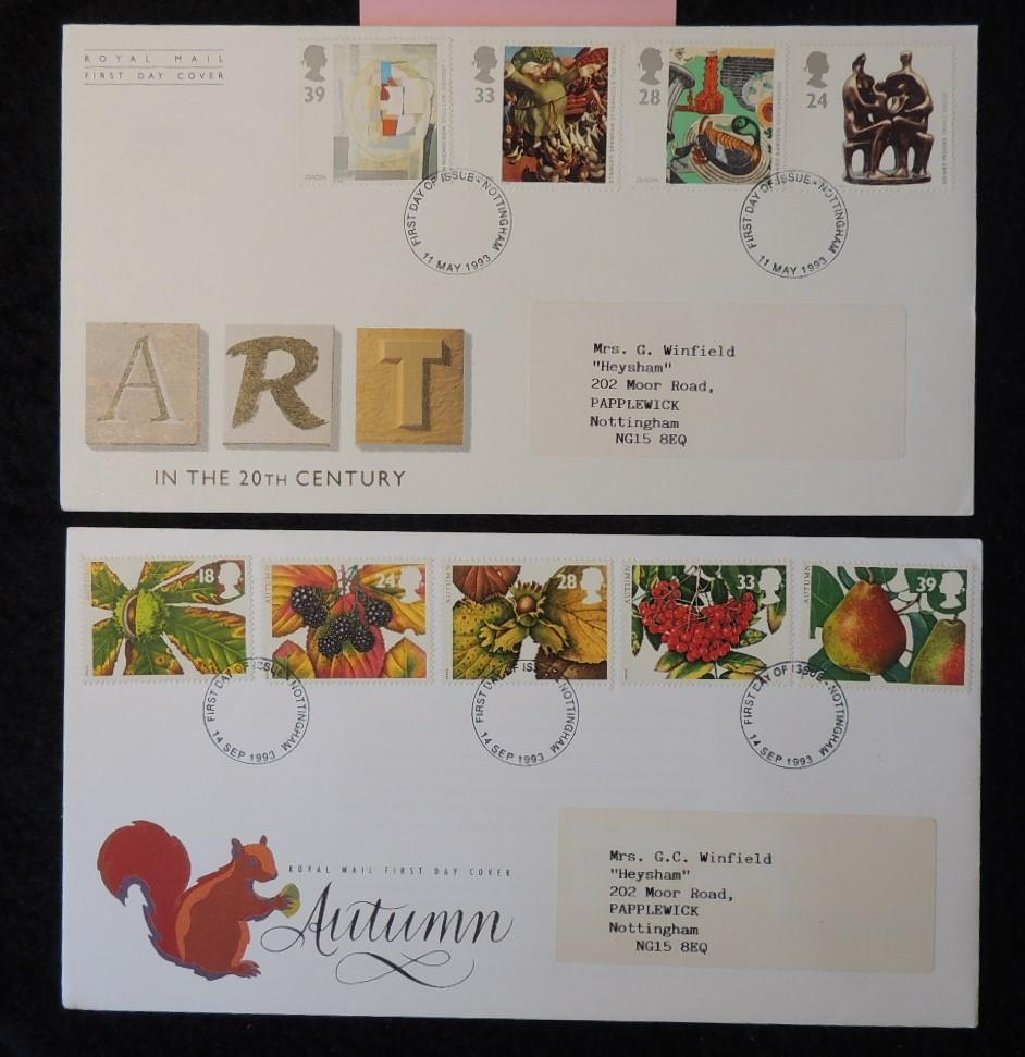 Great Britain 1993 - x2 FDC art autumn nottingham postmark