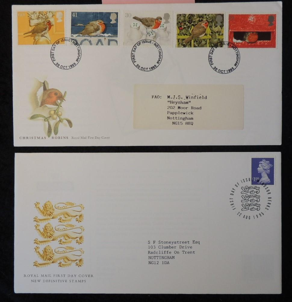 Great Britain 1995 - x2 FDC christmas robins £1 value definitive