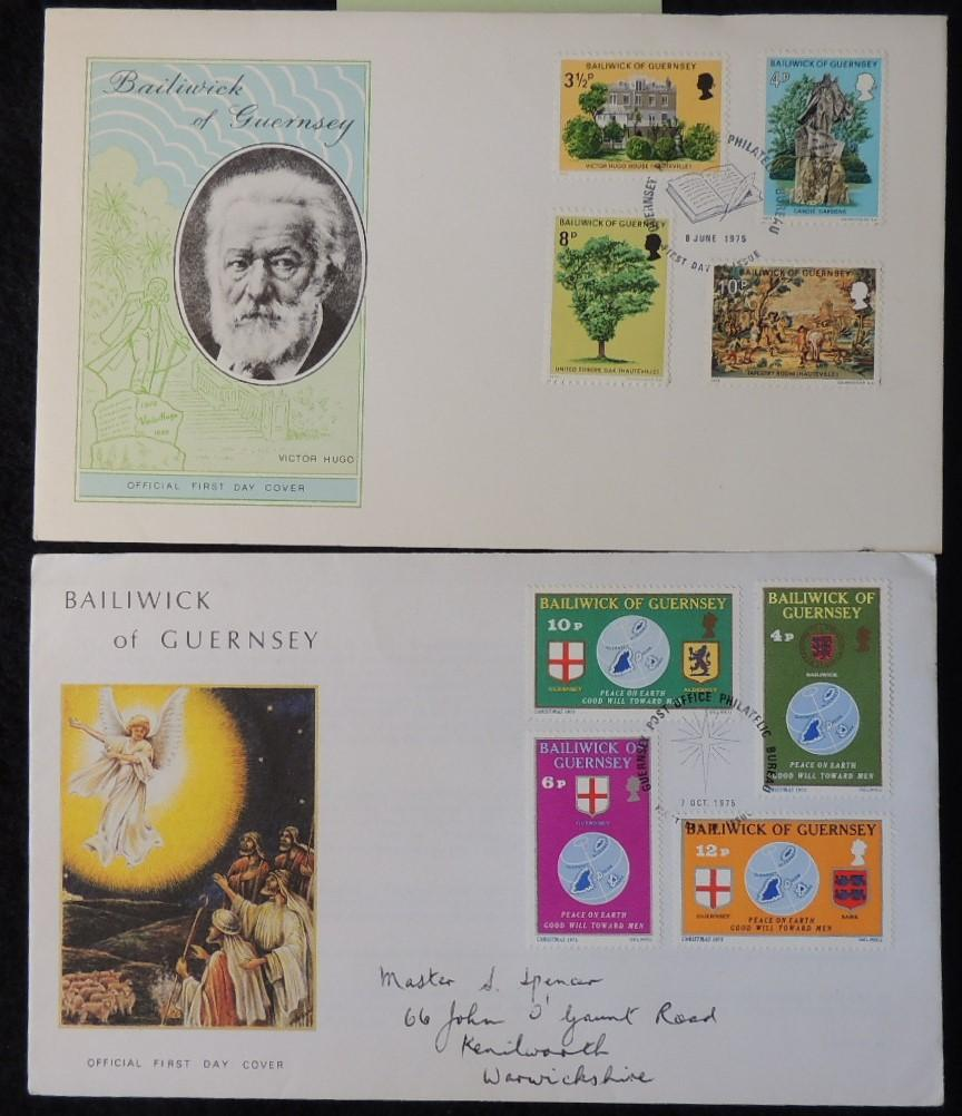 Guernsey 1975 x2 FDC victor hugo's exile christmas religion trees angel