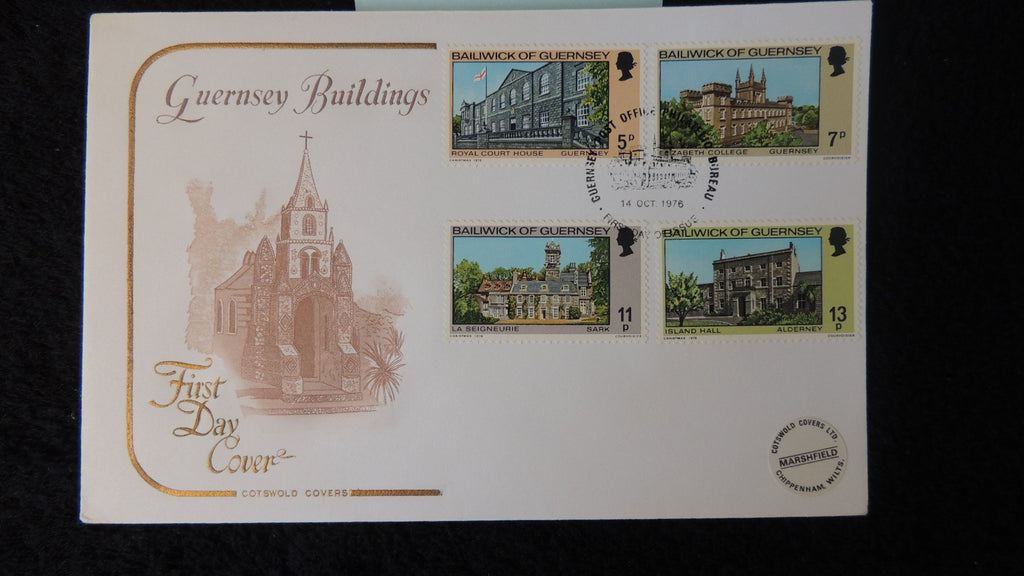 Guernsey 1976 FDC buildings cotswald cover