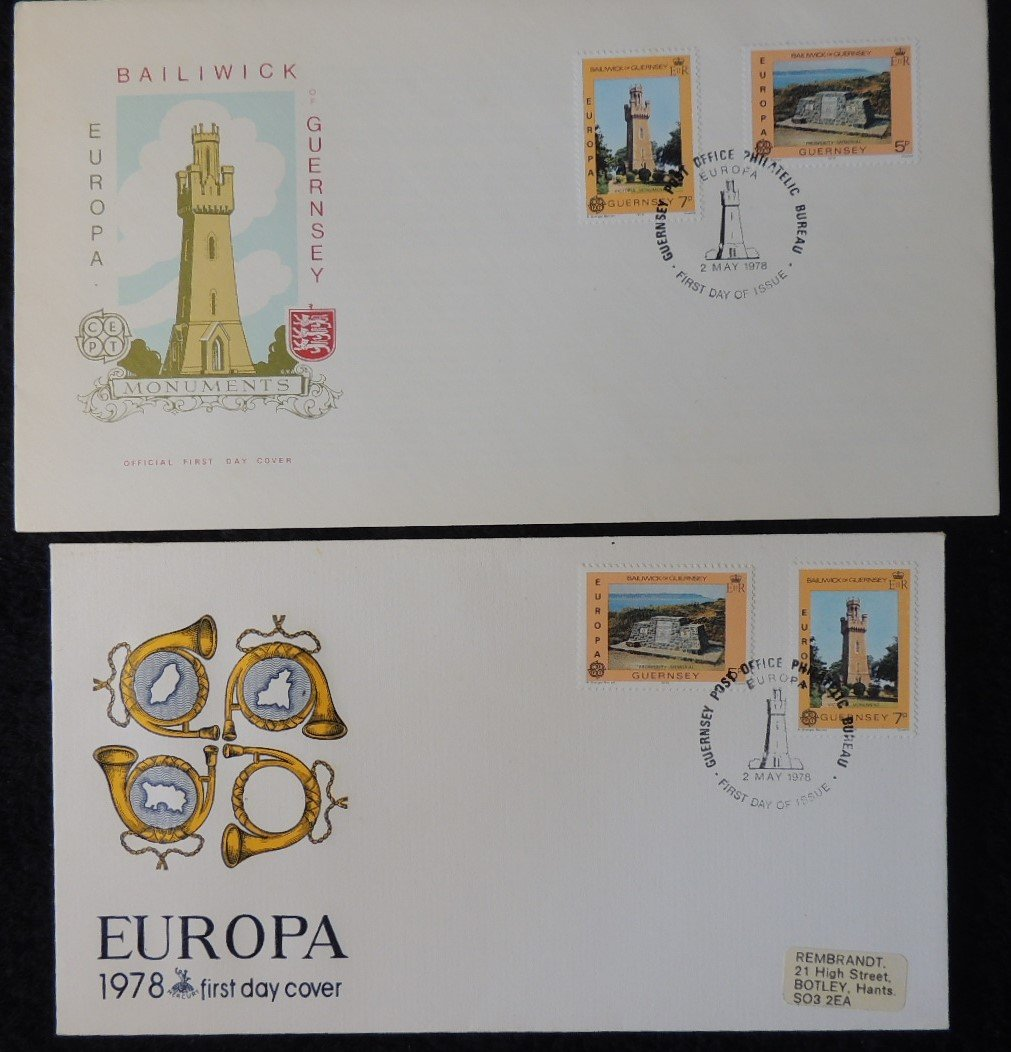Guernsey 1978 FDC x2 europa monuments posthorn maps