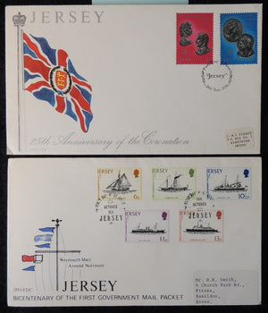 Jersey 1978 FDC mail packet and coronation royalty ships flags
