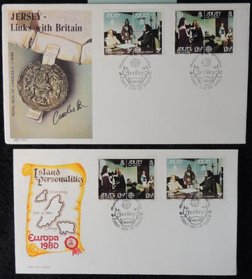 Jersey 1980 FDC europa x2 covers seals maps links with britain