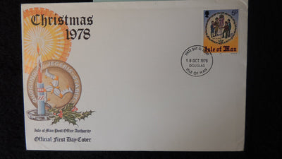 Isle of Man IOM FDC 1978 christmas religion candles holly
