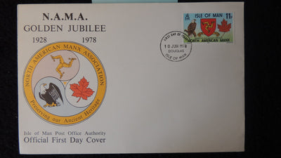 Isle of Man IOM FDC 1978 NAMA golden jubilee eagles birds of prey