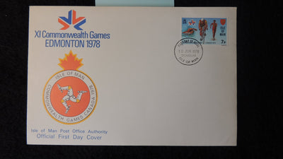 Isle of Man IOM FDC 1978 commonwealth games cycling swimming walking sport