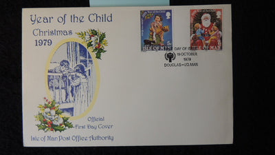 Isle of Man IOM FDC 1979 christmas year of the child holly teddy bear santa