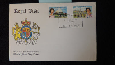Isle of Man IOM FDC 1979 royal visit crest royalty