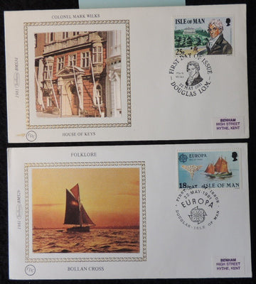 Isle of Man IOM FDC 1981 x2 benham colonel mark wilkes europa