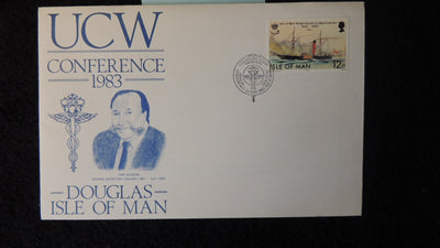 Isle of Man IOM FDC 1983 ucw conference tom jackson steam packet ships unions