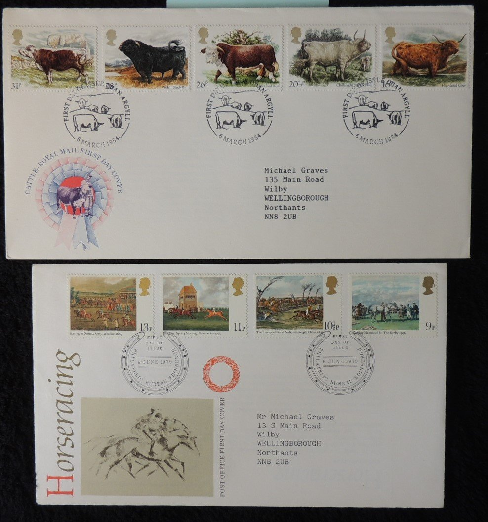 Great Britain FDC x2 1979 horse racing 1984 cattle bovine