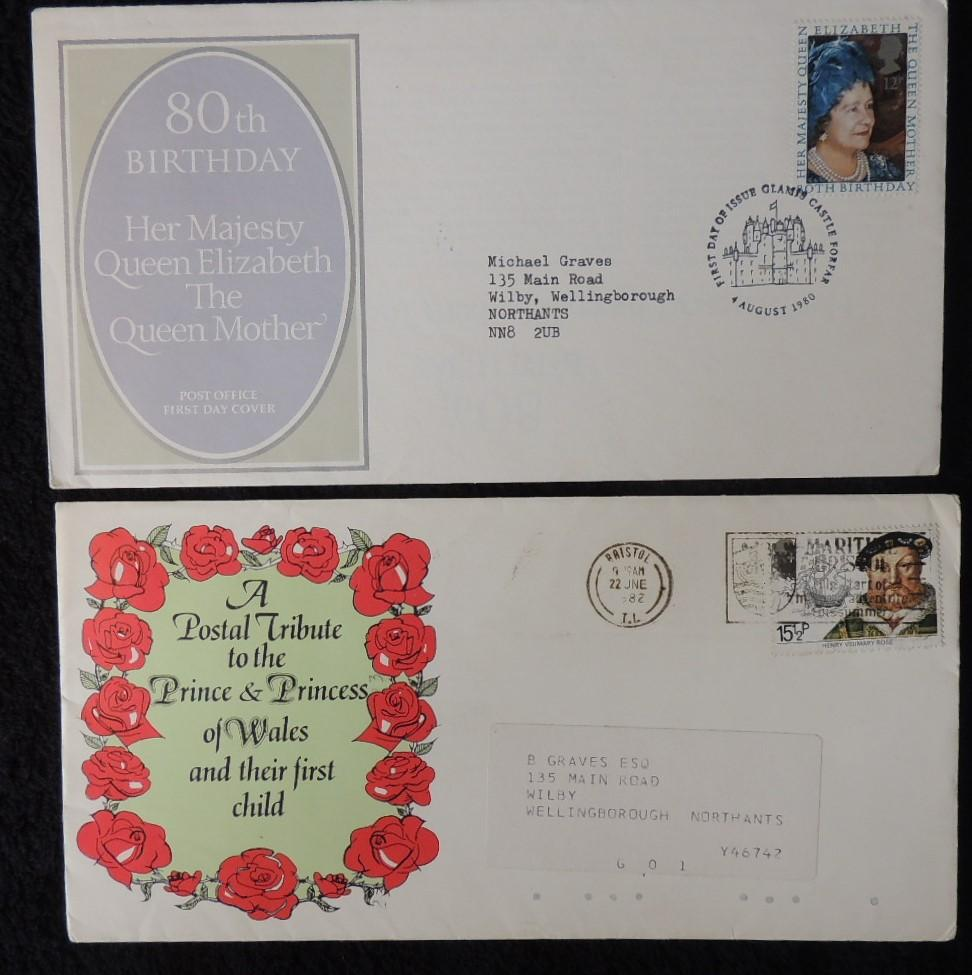 Great Britain FDC x2 1980/82 queen mother birthday henry viii diana first child