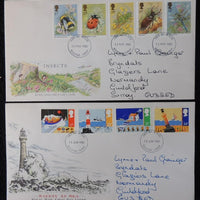 Great Britain FDC x2 1985 insects bees beetles dragonfly safety at sea lighthouse lifeboat bouy