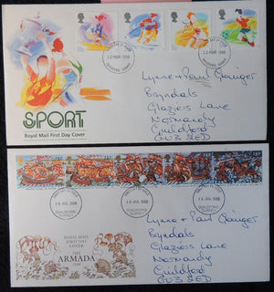 Great Britain FDC x2 1988 sport skiing tennis football the armada ships battles